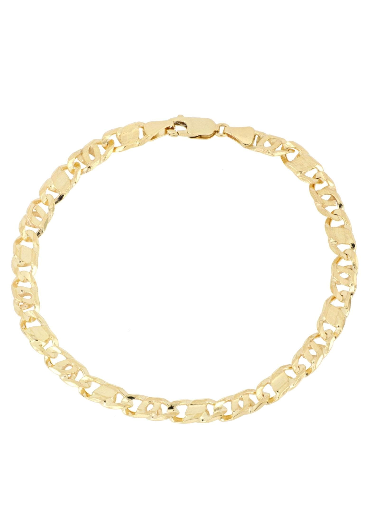 Firetti Goldarmband Achter-Rebhuhn-Plättchenkettengliederung, 5,5 mm breit, 6-fach diamantiert, konkav