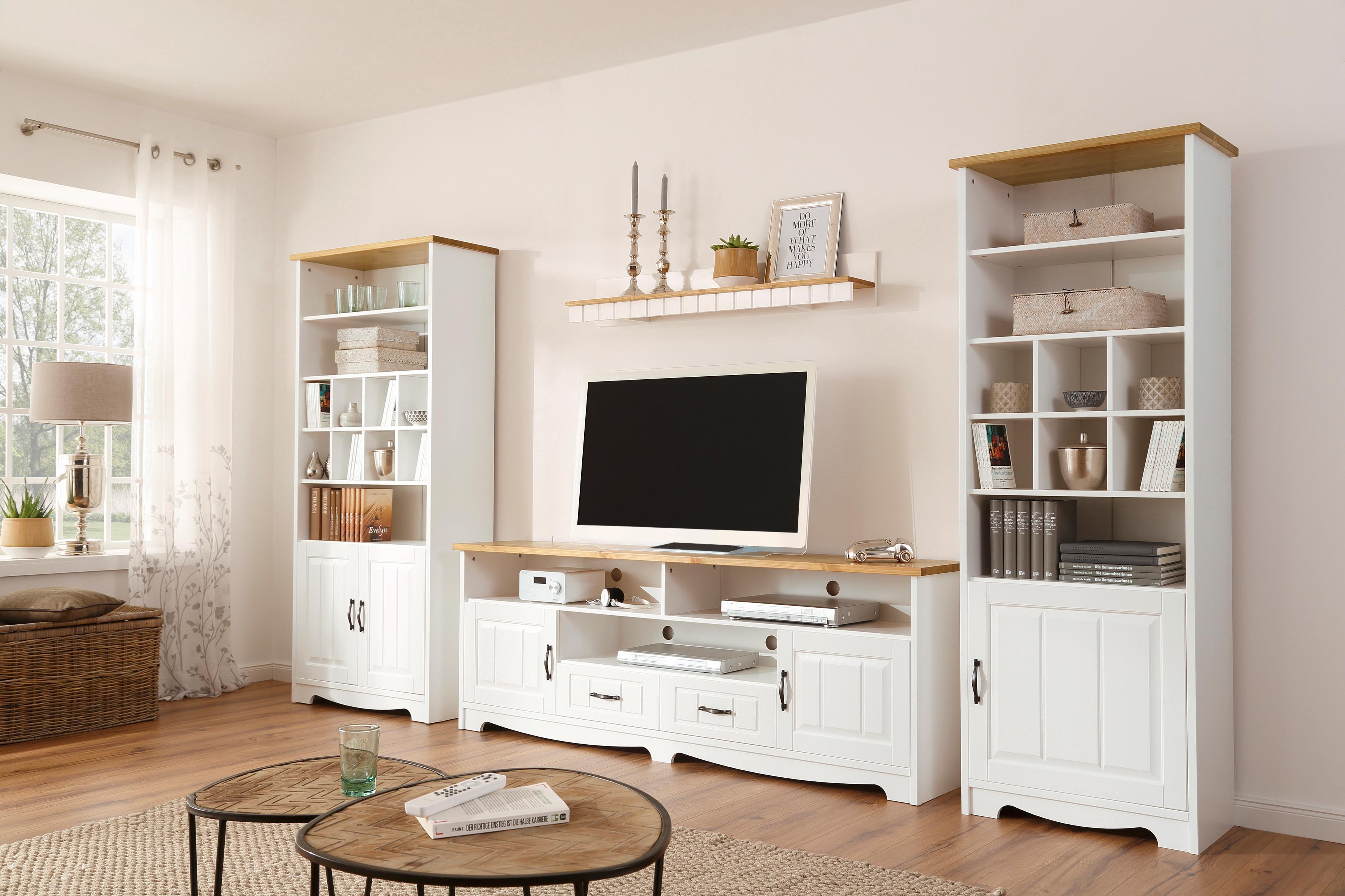 Home affaire 4-teilige Wohnwand «Trinidad», Set aus 1 Lowboard, 1 Wandboard, 1 Regal mit 1 Tür, 1 Regal mit 2 Türen