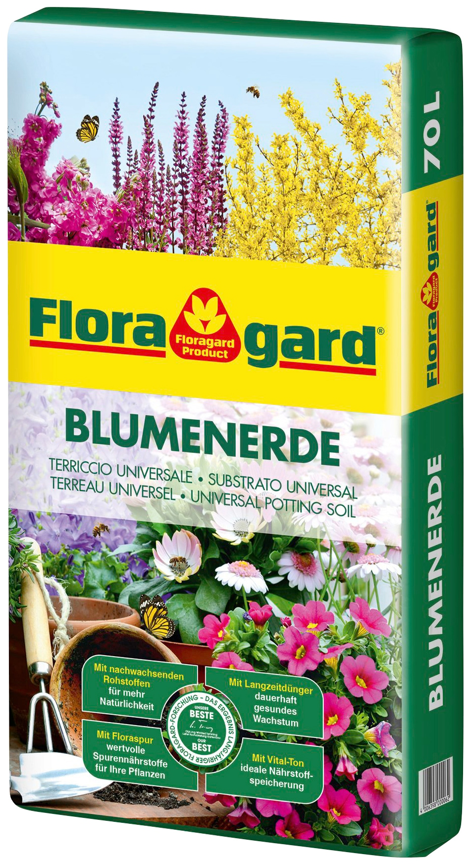 Floragard Blumenerde, 1x70 Liter braun Blumenerde Zubehör Pflanzen Garten Balkon