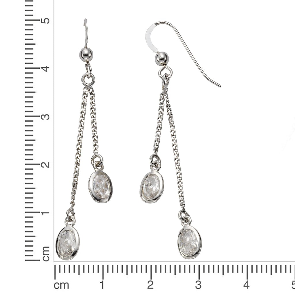 Vivance Paar Ohrhaken »925/- Sterling Silber Zirkonia«, rhodiniert