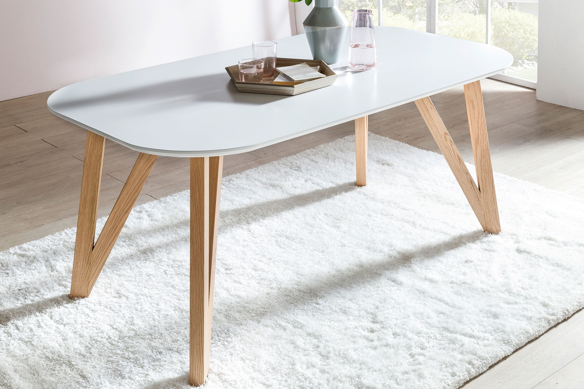 SalesFever Esstisch, Haarnadelbeine aus massiver Eiche weiß Esstisch Esstische rund oval Tische