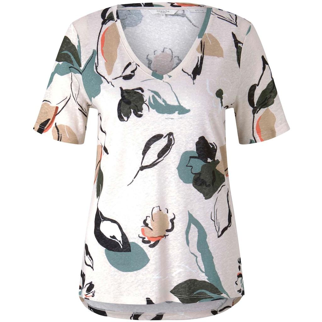 TOM TAILOR mine to five T-Shirt, mit V-Ausschnitt und Blumenmuster