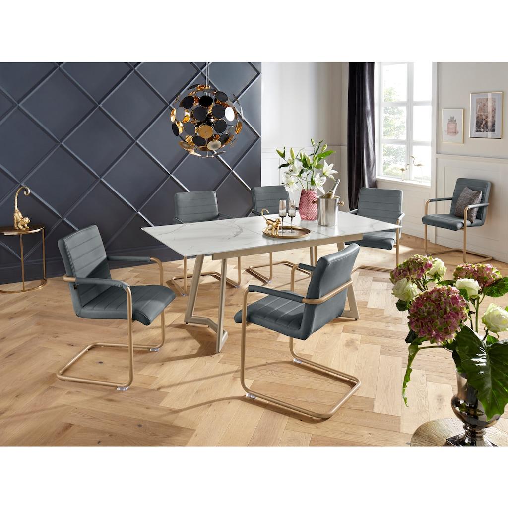 Leonique Esszimmerstuhl »Amadis«, mit einem edlen Metallgestell, pflegeleichtem Kunstleder Bezug, in zwei verschiedenen Farbvarianten, Sitzhöhe 47 cm