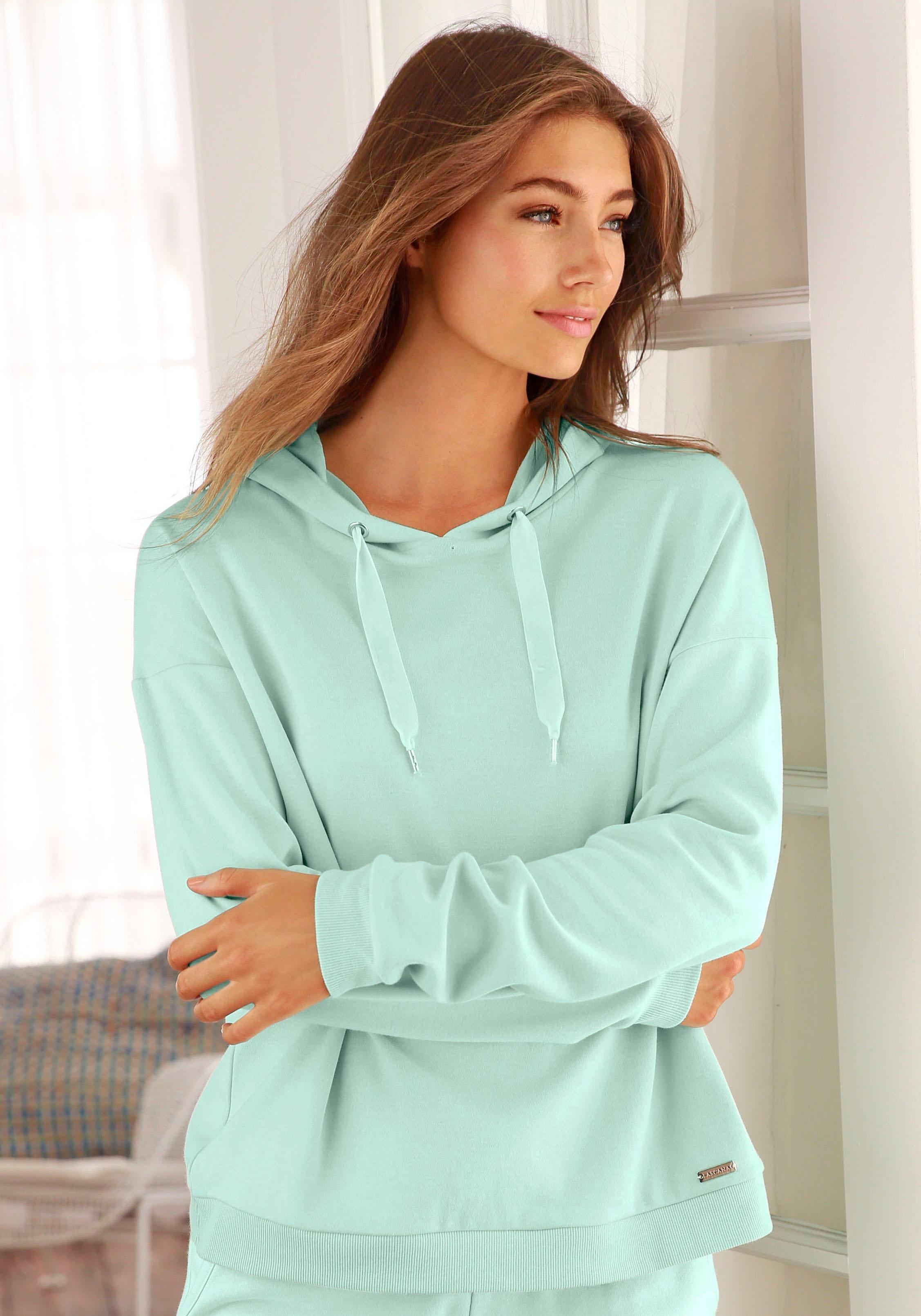 LASCANA Kapuzenshirt mit offenem Rückenteil in Layeroptik | Bekleidung > Shirts > Kapuzenshirts | Grün | Baumwolle | Lascana