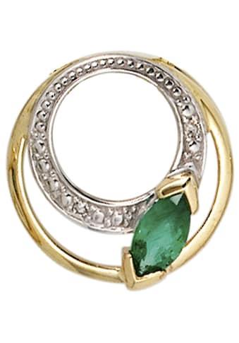JOBO Runder Anhänger, rund 585 Gold mit 2 Diamanten und Smaragd kaufen