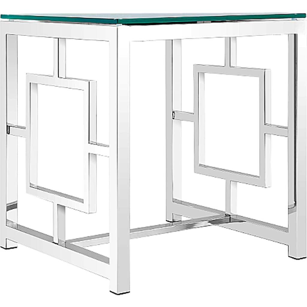 Leonique Beistelltisch »Robin«, mit Glasplatte und schönem chromfarbenen Metallgestell, Breite 50 cm