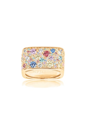 Sif Jakobs Jewellery Fingerring »NOVARA QUADRATO«, 18K vergoldet mit bunten gefassten... kaufen