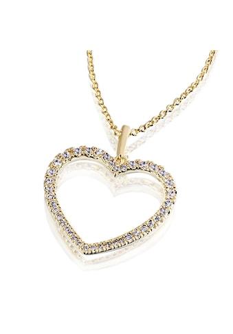 Averdin Collier mit grossem Herz aus Messing 40 Zirkonia kaufen