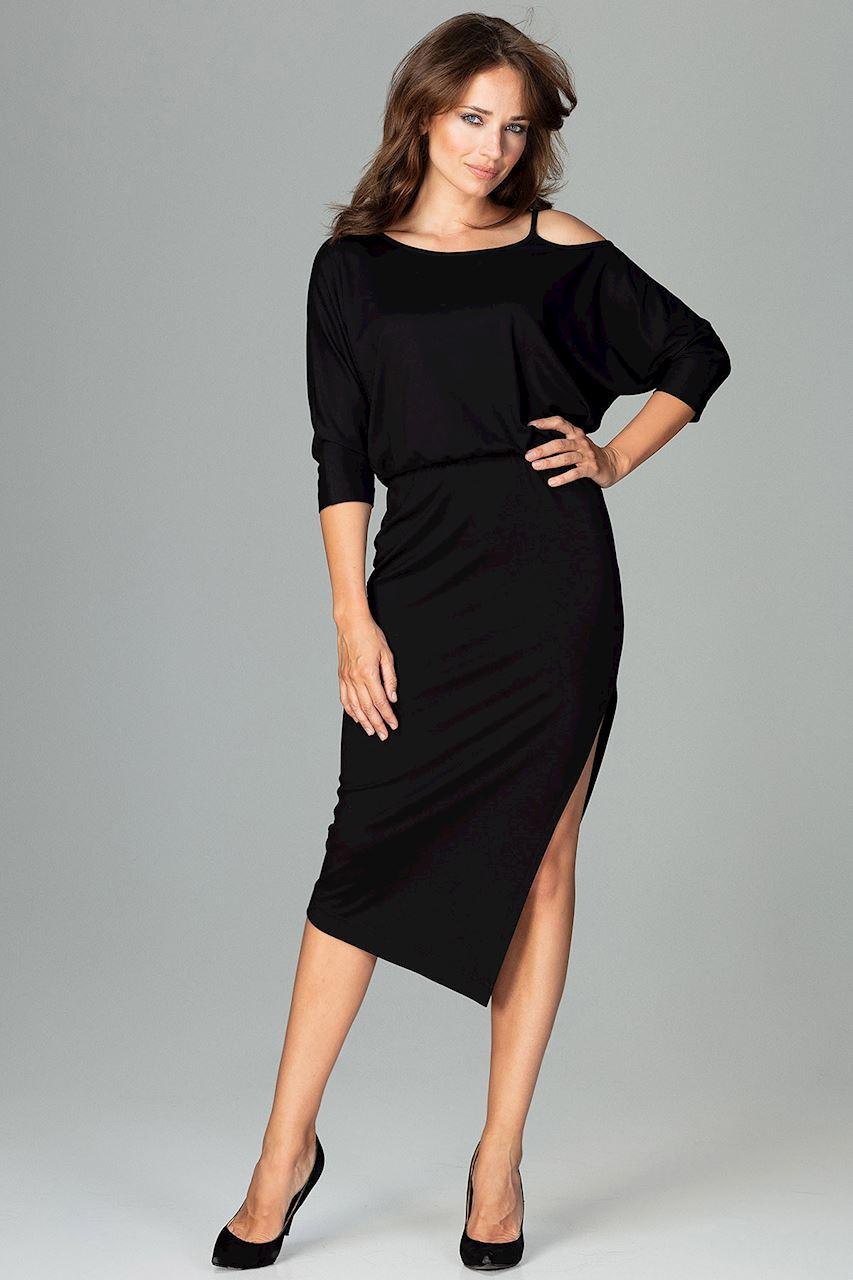 LENITIF Abendkleid mit hohem Seitenschlitz   Bekleidung > Kleider   Schwarz   Elasthan   Lenitif