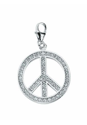 Adelia´s Charm - Einhänger »925 Silber Charms Anhänger Peace - Zeichen mit Zirkonia Ø 22 mm« kaufen