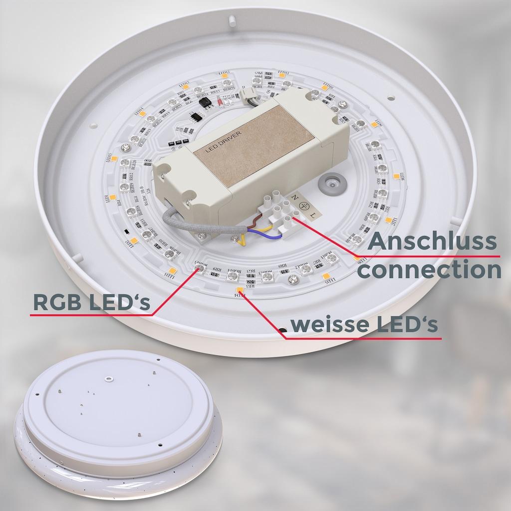B.K.Licht LED Deckenleuchte, LED-Modul, Warmweiß, LED RGBW Deckenlampe 4-stufig dimmbar mit Farbwechsel inkl. 10W LED SternenhimmelI Nachtlichtfunktion warmweiße Lichtfarbe IR-Fernbedienung