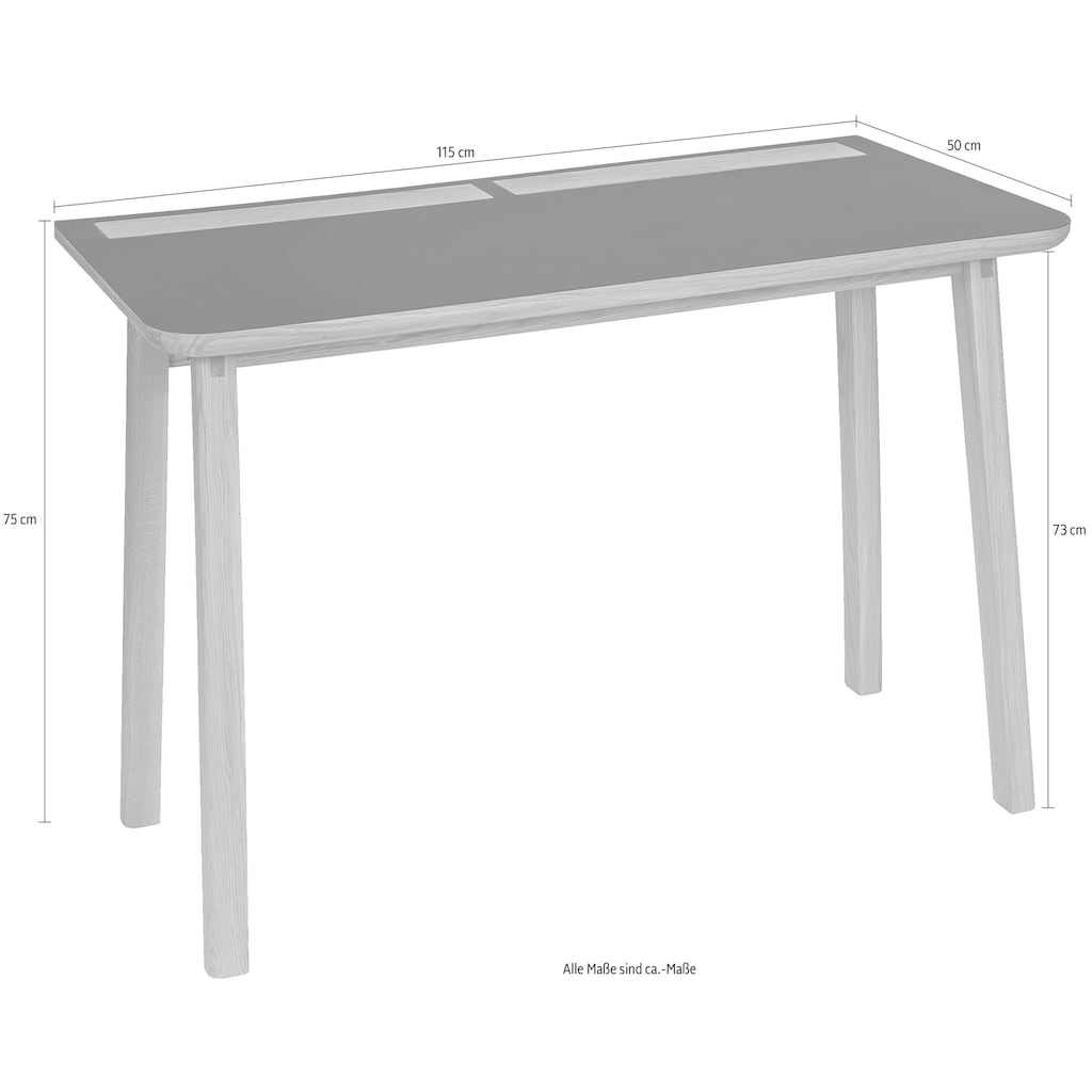 Woodman Schreibtisch »Mati«, mit zwei Ledertaschen an der Seite des Tisches für gute Stauraummöglichkeiten