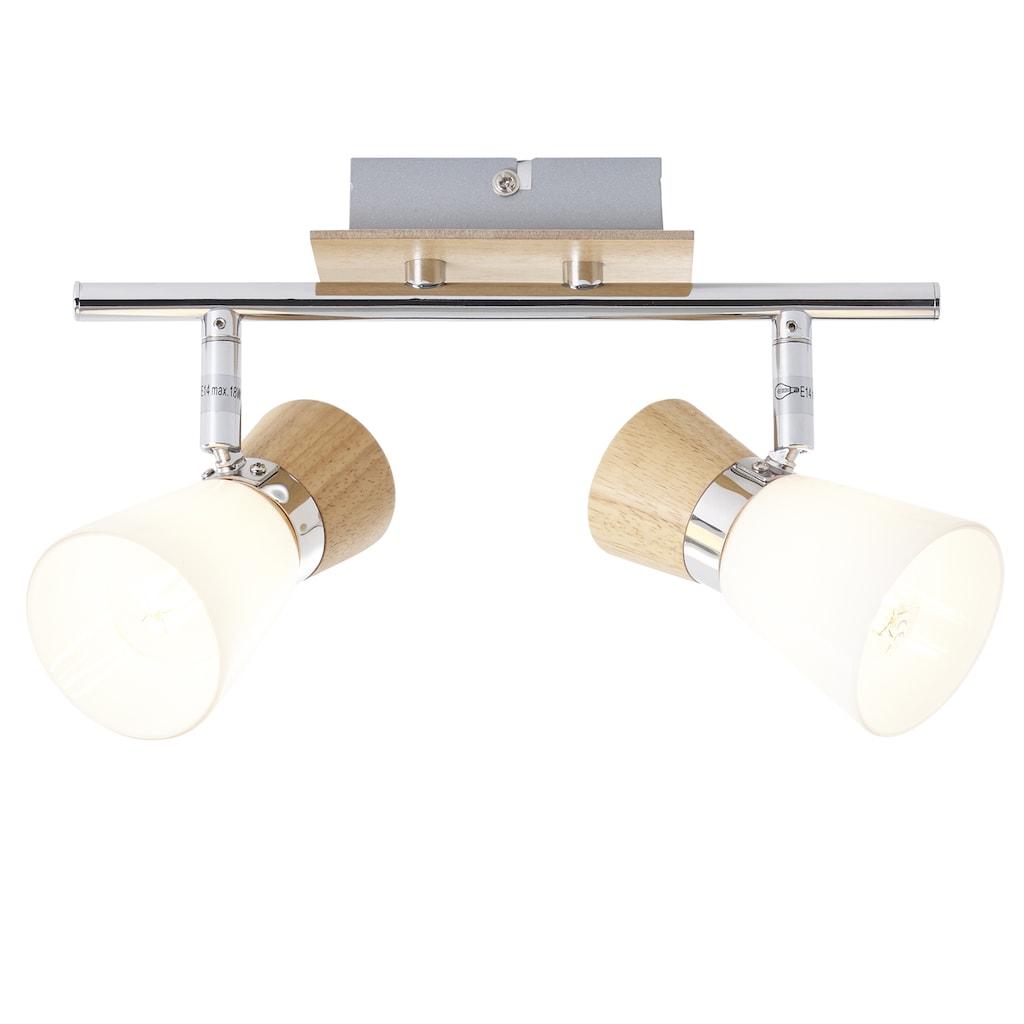Brilliant Leuchten Deckenleuchten, E14, Nacolla Spotrohr 2flg holz hell/chrom/weiß