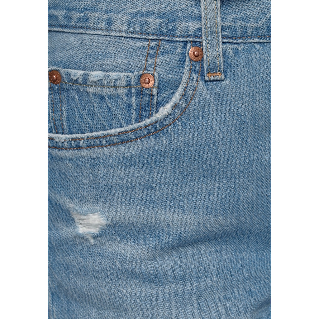Levi's® Jeansshorts »501® Short Long«, geknöpfter Verschluss und fransiger Saum