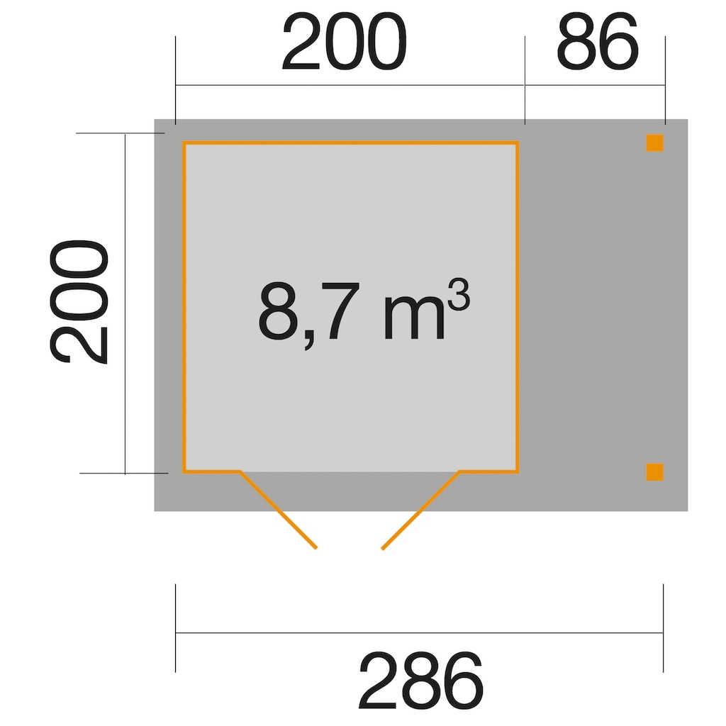 WEKA Set: Gartenhaus »Jens Gr.1«, BxT: 316x230 cm, inkl. Schleppdach, Fußboden und Fenster