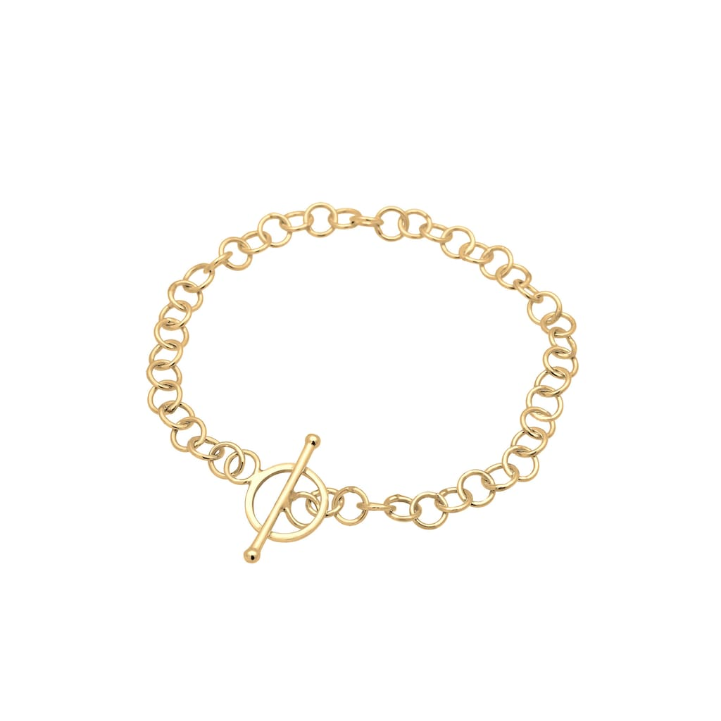 Elli Armband »Basic Charmträger Ankerkette Geo Kreis 925 Silber«