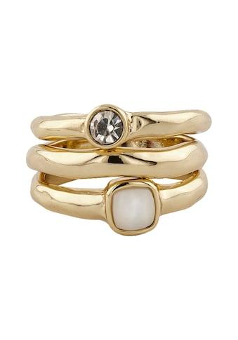 Buckley London Ring-Set vergoldet mit Kristall und Perlmutt kaufen