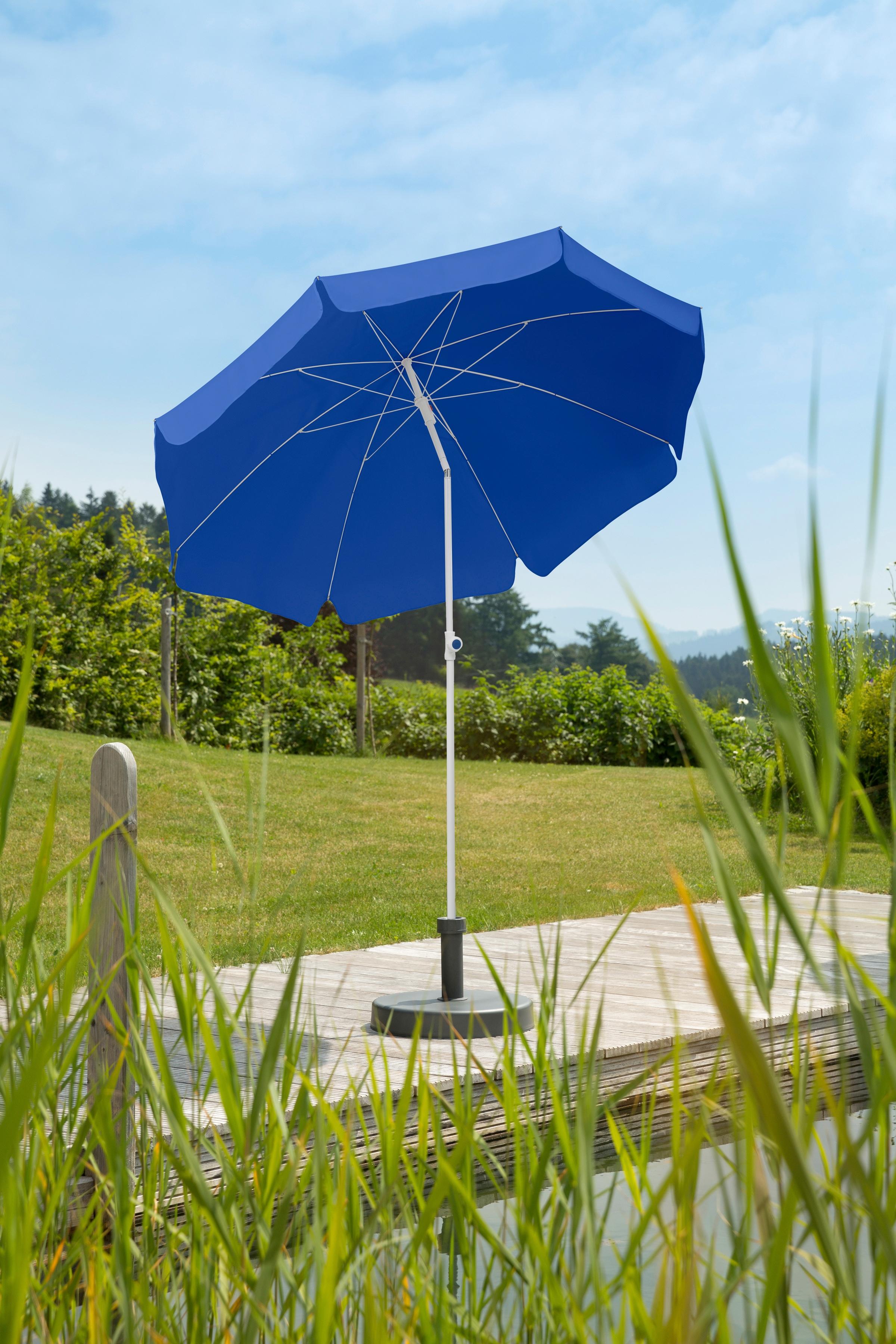 Schneider Schirme Sonnenschirm Ibiza, abknickbar, ohne Schirmständer blau Sonnenschirme Garten Balkon
