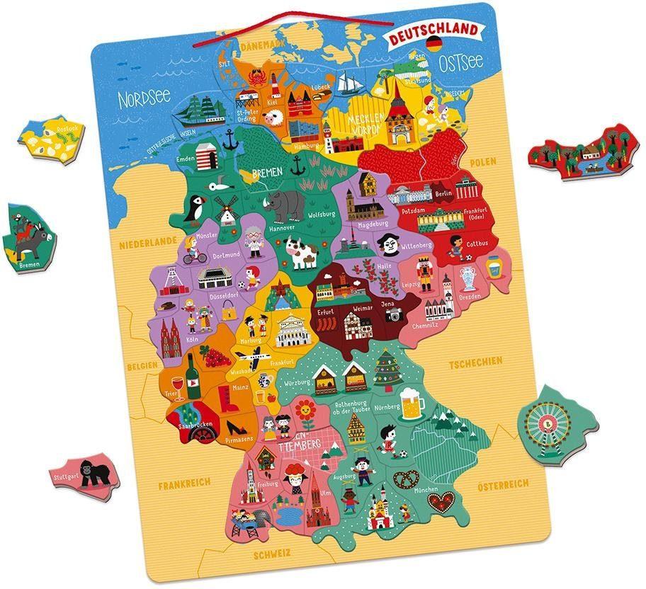 Janod Konturenpuzzle Magnetische Landkarte Deutschland bunt Kinder Ab 6-8 Jahren Altersempfehlung