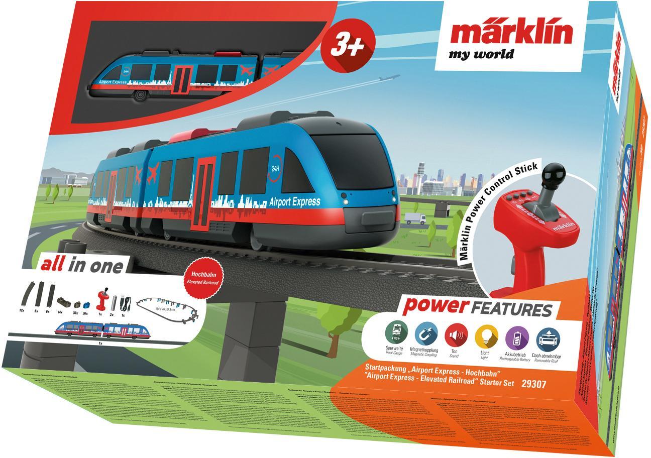 Märklin Modelleisenbahn-Set my world - Airport Express Hochbahn 29307, für Einsteiger bunt Kinder Ab 3-5 Jahren Altersempfehlung