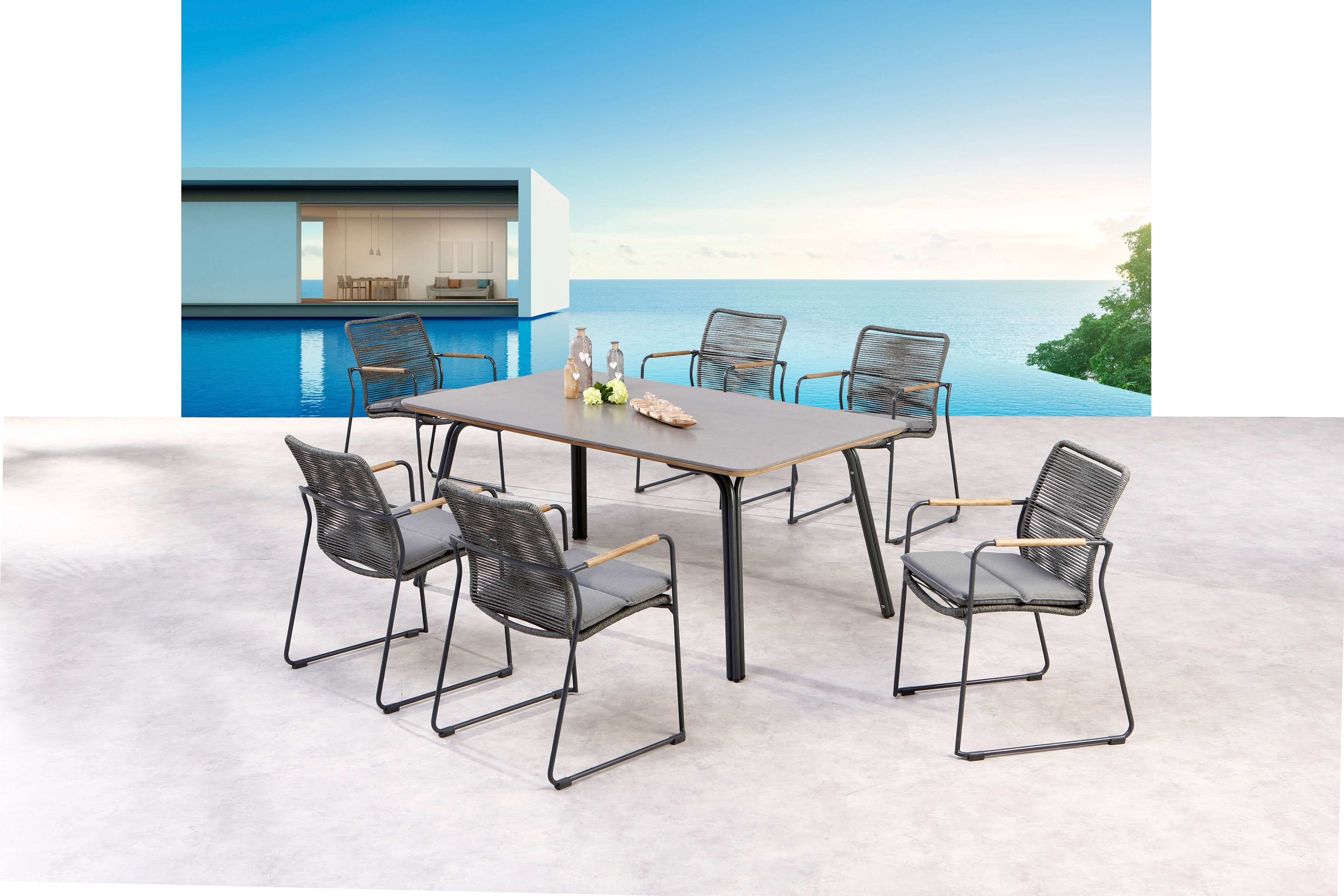 BEST Gartenmöbelset Bormio 7-tlg 6 Sessel Tisch 180x100 cm inkl Sitzkissen