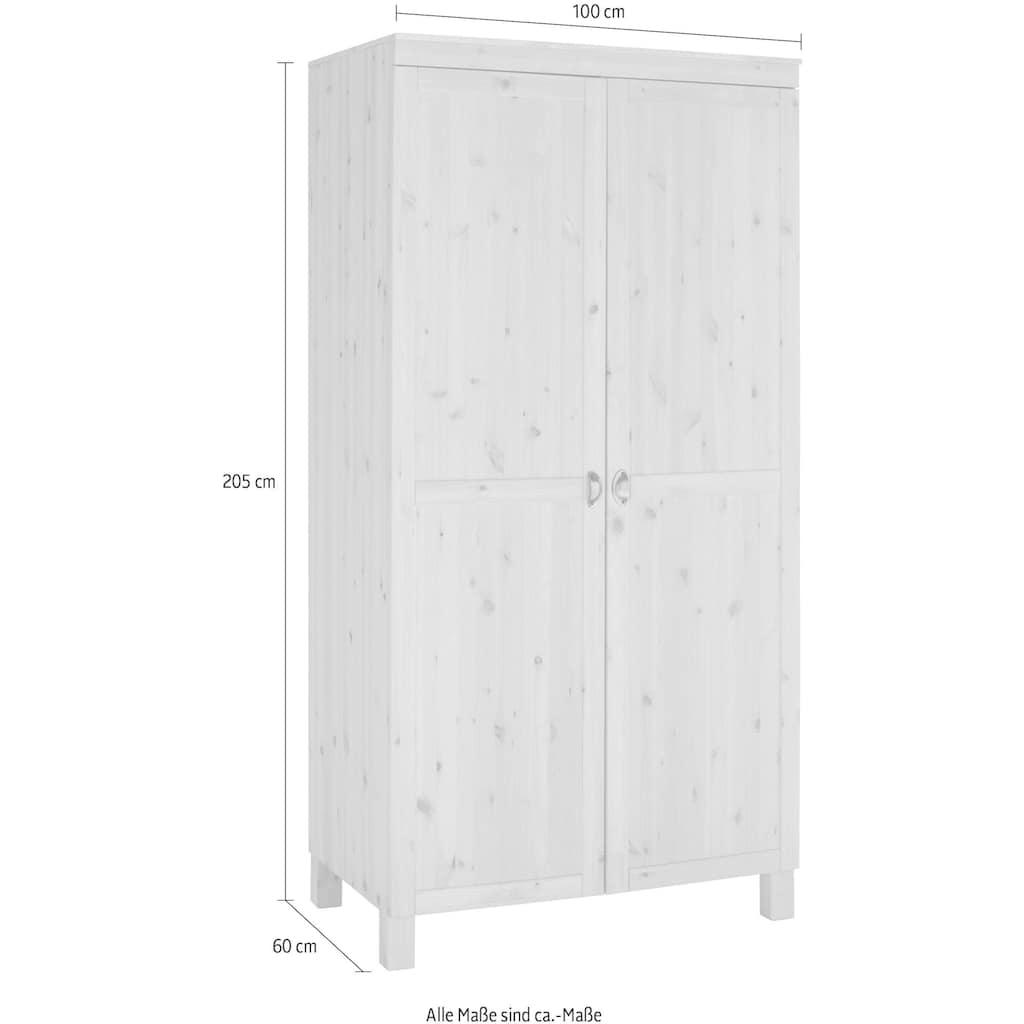 Home affaire Hochschrank »Oslo«, 100 cm breit, 205 cm hoch, mit 4 Einlegeböden, aus massiver Kiefer, Metallgriffe