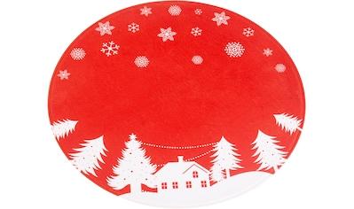 my home Teppich »Weihnachtsdorf«, rund, 15 mm Höhe, Tannenbaumteppich, Wohnzimmer kaufen