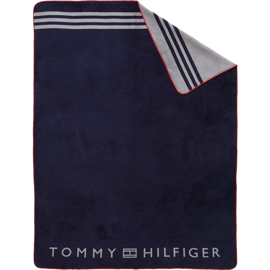 Tommy Hilfiger Plaid »Fleece«, mit großem Logodruck