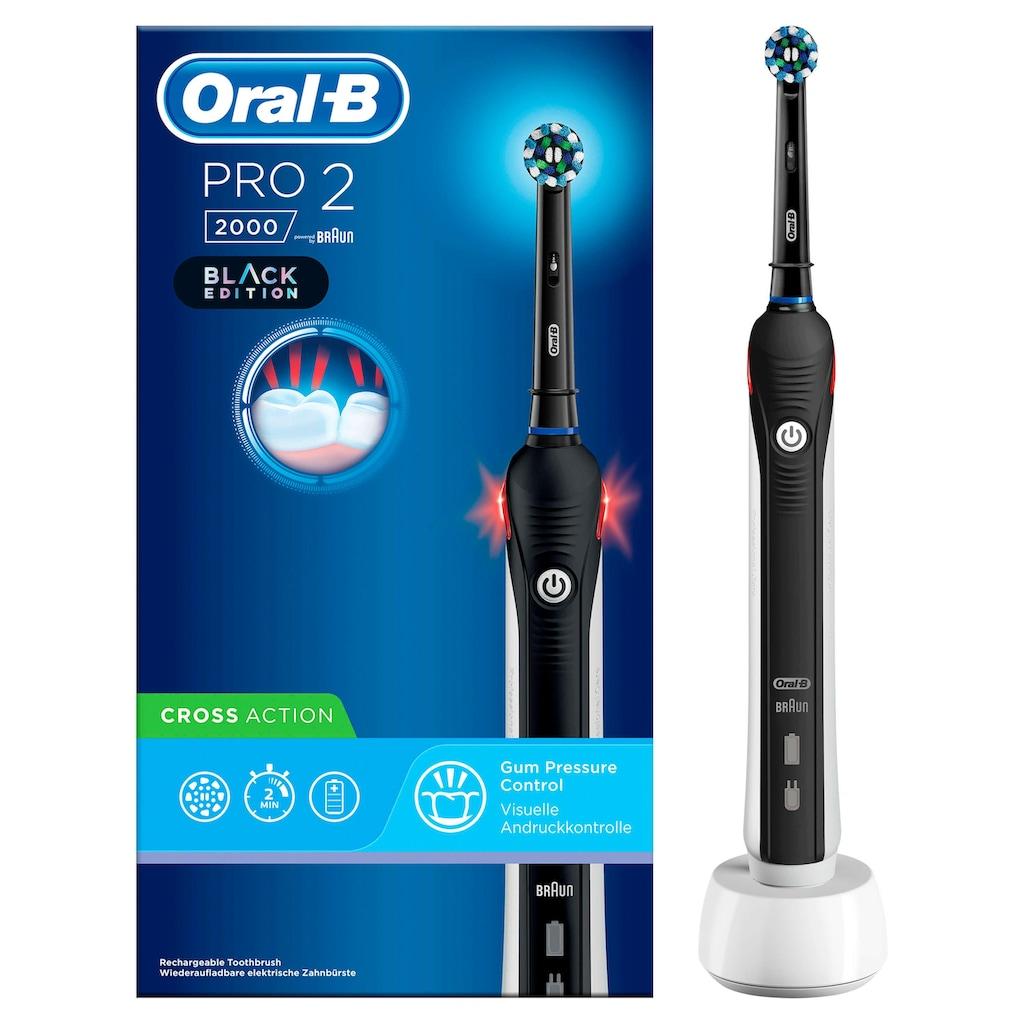 Oral B Elektrische Zahnbürste PRO 2 2000 Black Edition, Aufsteckbürsten: 1 Stk.
