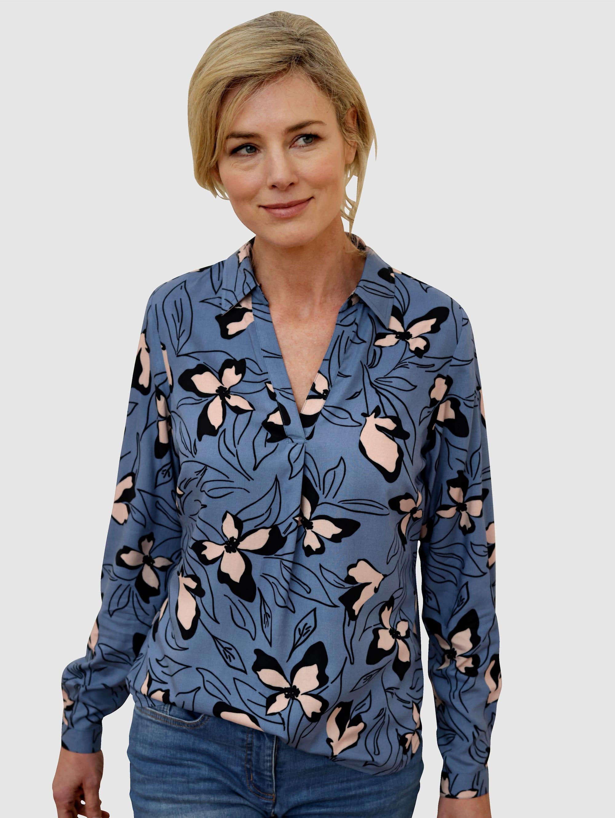 Dress In Schlupfbluse, mit schönem Blumendruck blau Damen Schlupfbluse Schlupfblusen Blusen Tuniken