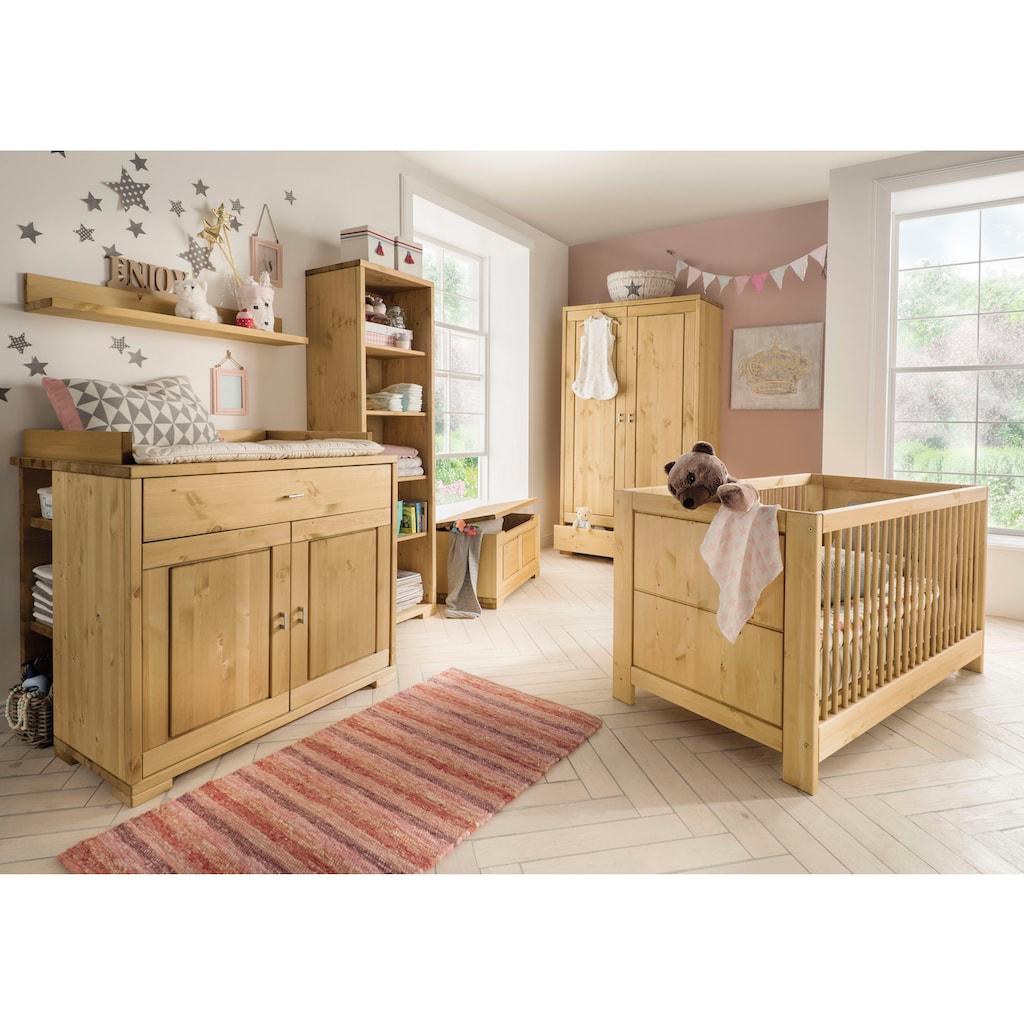 Fantasykids Babyzimmer-Komplettset, (Set, 7 St., Bett + Wickelkommode + 1x Unterbauregal + 2-trg. Schrank + Strandregal + Deckeltruhe + Wandboard)