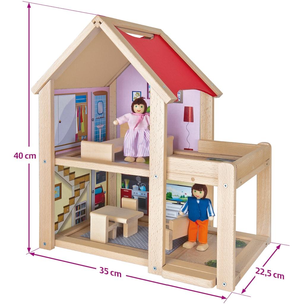 Eichhorn Puppenhaus »Puppenhaus, 9tlg.«, mit Einrichtung und Spielfiguren; Made in Europe