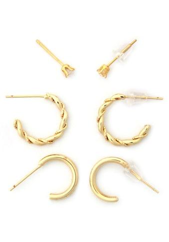 J.Jayz Ohrstecker-Set »schlicht, elegant, feminin«, (Set, 6 tlg.), mit Glassteinen kaufen