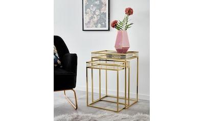 Leonique Beistelltisch »Yanis«, (2 St.), mit Ablageflächen aus Spiegelglas und... kaufen