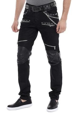 Cipo & Baxx Slim-fit-Jeans, mit Leder Einsatz kaufen