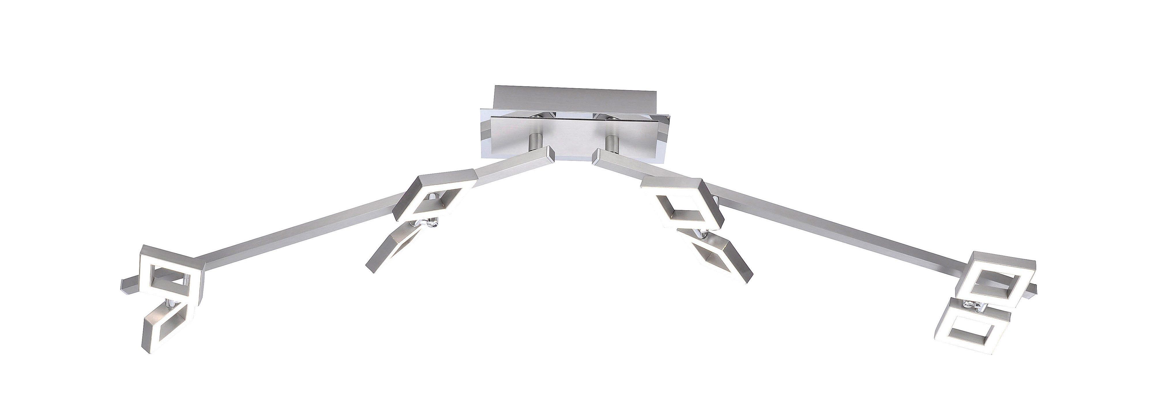 Paul Neuhaus Deckenleuchte TWINS, LED-Board, Warmweiß, inklusive festverbautem LED Leuchtmittel,Spots und Leuchtenarme schwenkbar, Dimmbar über externen Dimmer,3000 Kelvin