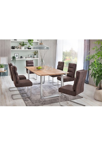 Premium collection by Home affaire Esstisch »Montreal«, Eichenholzlamellen geölt mit eleganter Schweizer Kante, Gestell silber kaufen