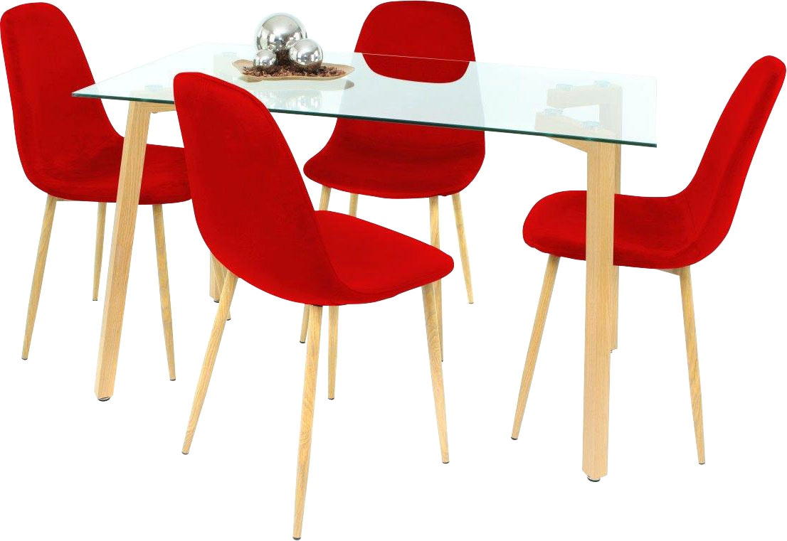 Essgruppe rot Essgruppen Tische Sitzmöbel-Sets
