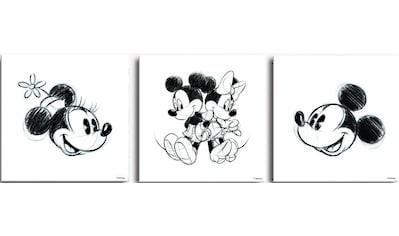 Disney Mehrteilige Bilder »Mickey & Minnie«, (Set, 3 St.) kaufen