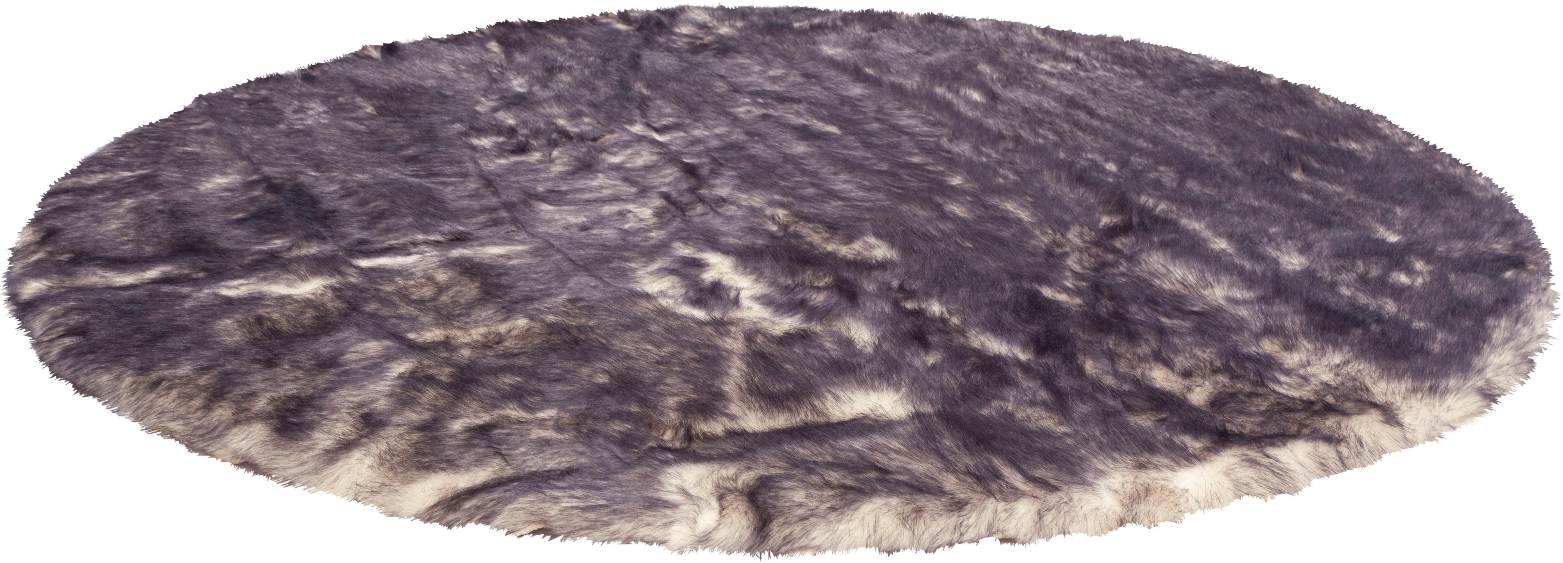 Hochflor-Teppich Marta Leonique rund Höhe 55 mm handgetuftet