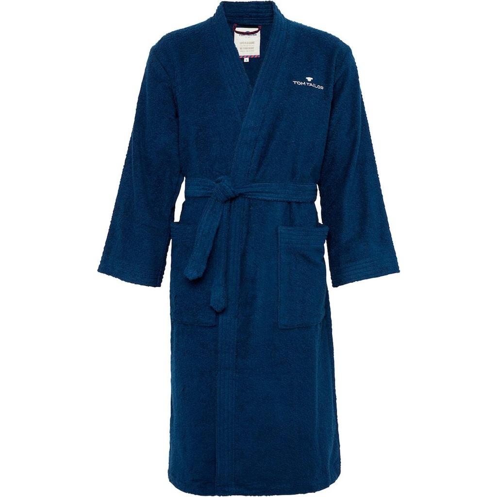 TOM TAILOR Unisex-Bademantel »Kimono«, (1 St.), mit Logostickerei