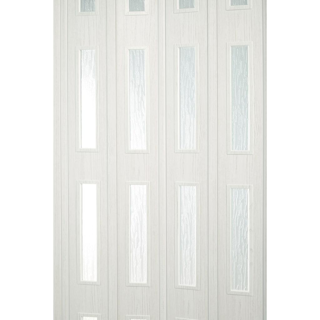 FORTE Kunststoff-Falttür »Luciana«, eiche weiß, mit 4 Fenstern in Riffelstruktur