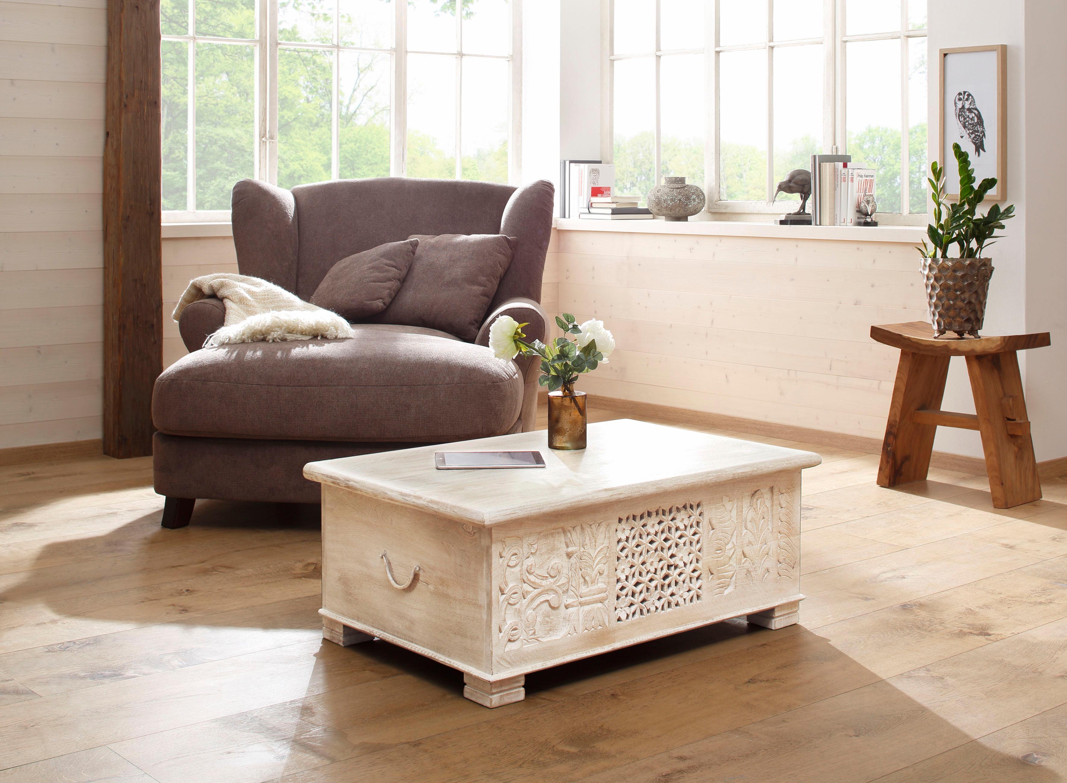 Home affaire Couchtisch «Bharat«, mit dekorativen Fräsungen an der Front, Breite 100 cm