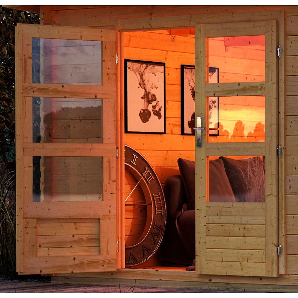 KONIFERA Set: Gartenhaus »Schloßsee 2«, BxT: 454x273 cm, mit Anbau inkl. Seiten- und Rückwand