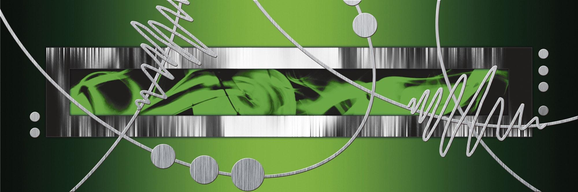 home affaire leinwandbild jule silber abstrakt auf gr n. Black Bedroom Furniture Sets. Home Design Ideas
