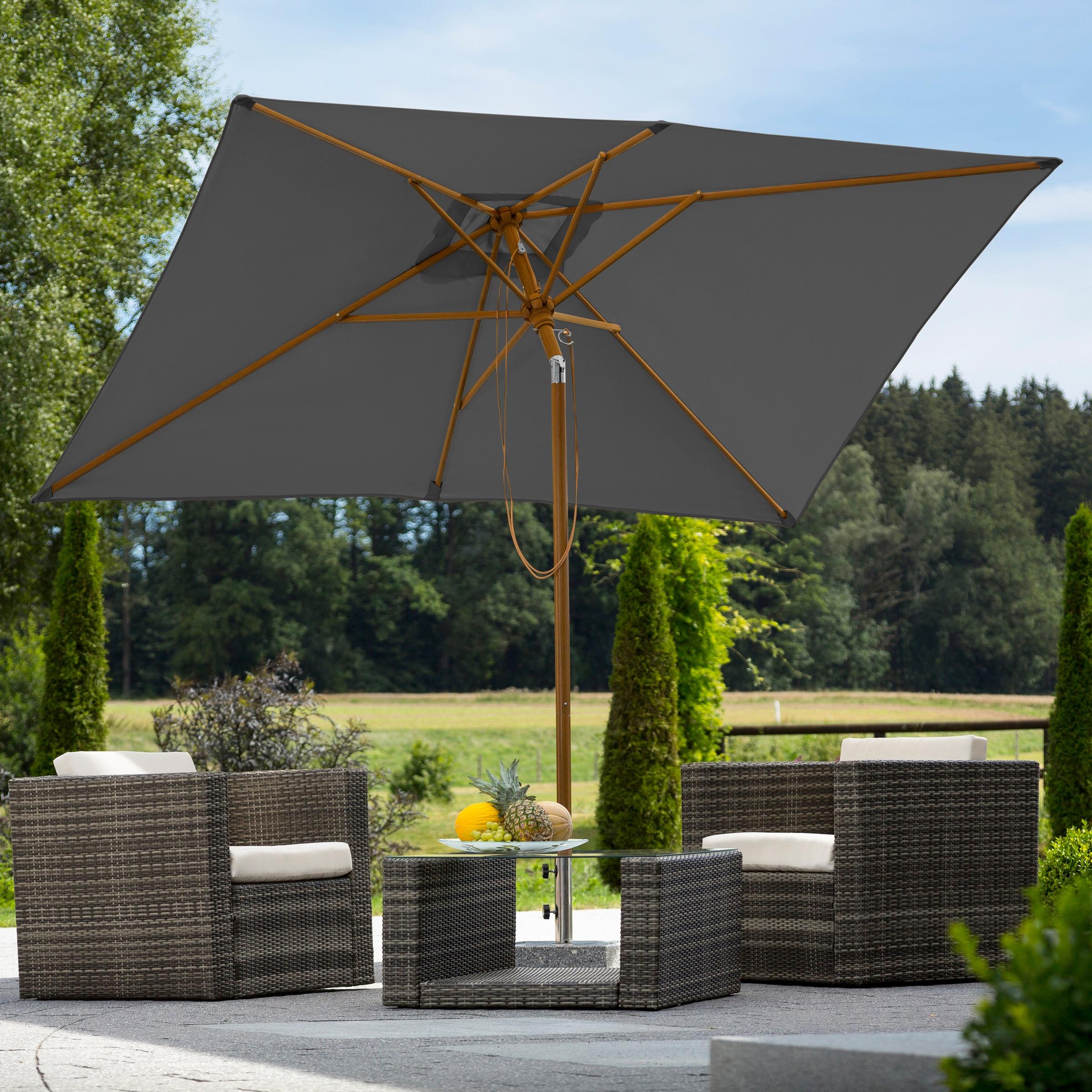 Schneider Schirme Sonnenschirm Malaga, abknickbar, ohne Schirmständer grau Sonnenschirme -segel Gartenmöbel Gartendeko
