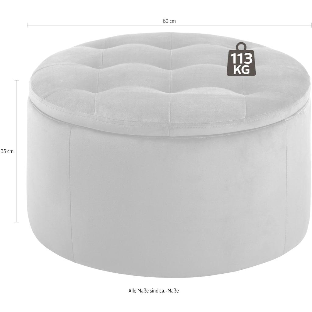 andas Pouf »Rita«, mit Innenstauraum und einem weichen Velvetbezug, Durchmesser Ø 60 cm