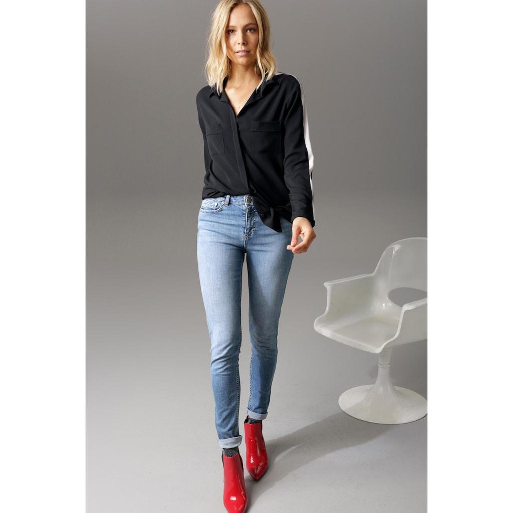 Aniston CASUAL Hemdbluse, mit Streifeneinsatz