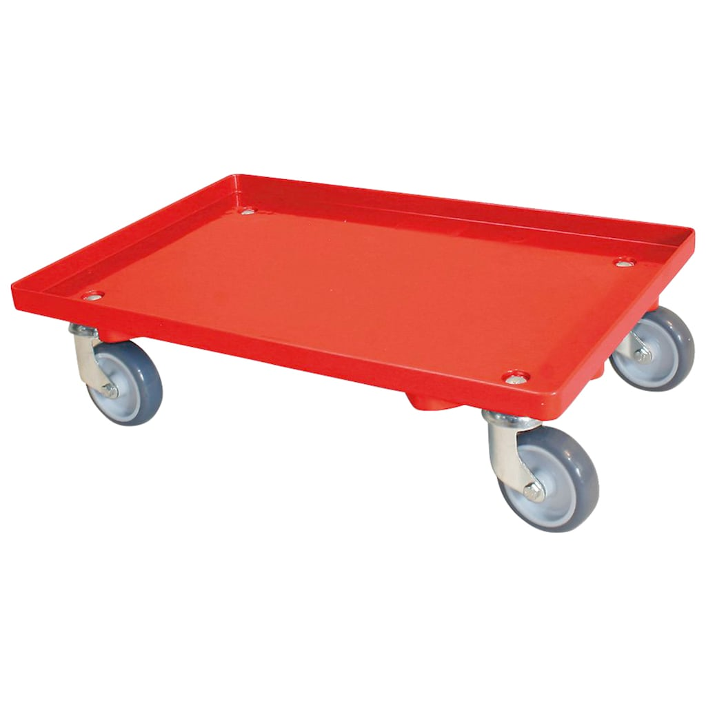 Transportroller, BxT: 60x40 cm, mit 4 Lenkrollen und grauen Gummirädern, Tragkraft 250 kg, rot