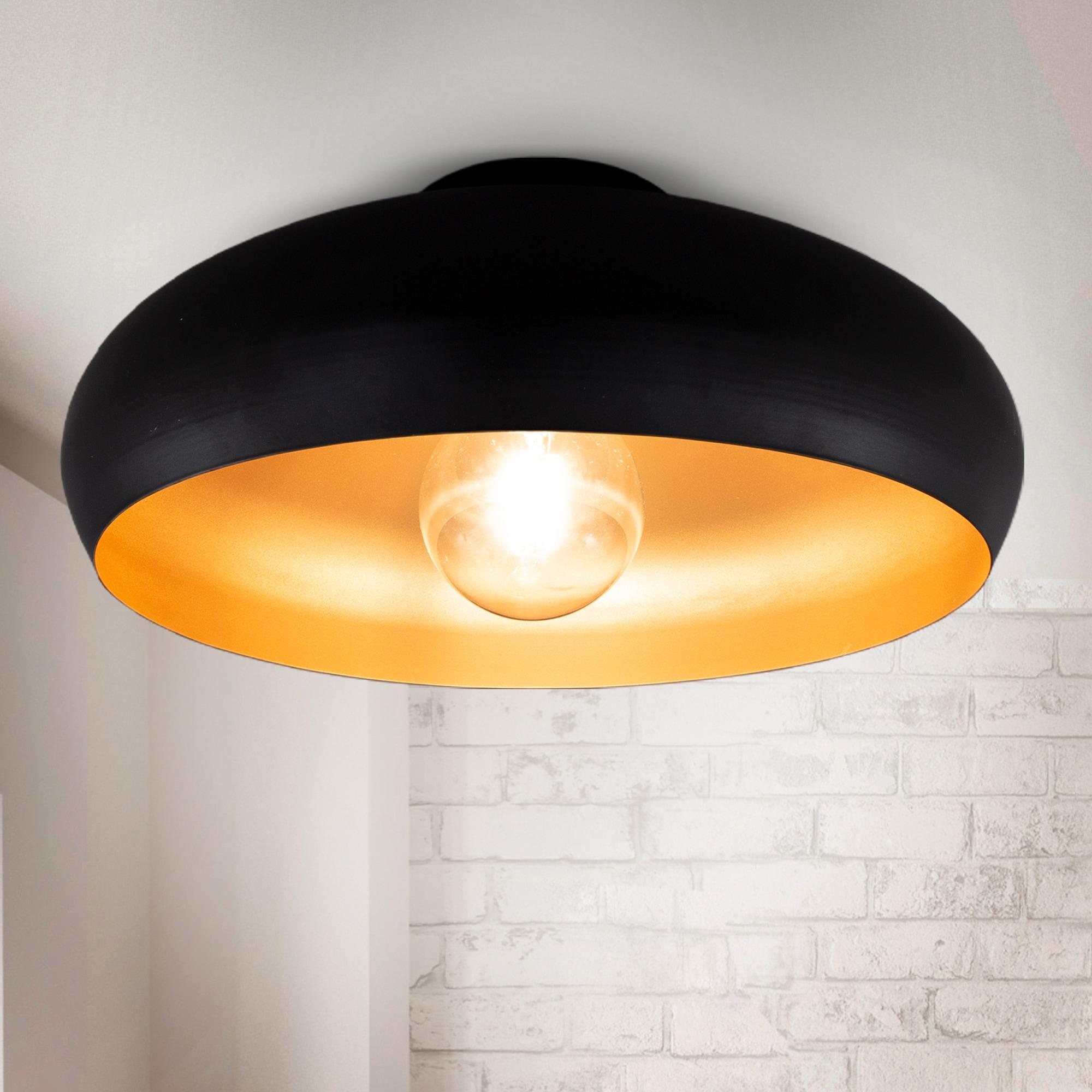 B.K.Licht Deckenleuchte, E27, Warmweiß, LED Deckenlampe Retro schwarz-gold Wohnzimmer Flur Schlafzimmer E27